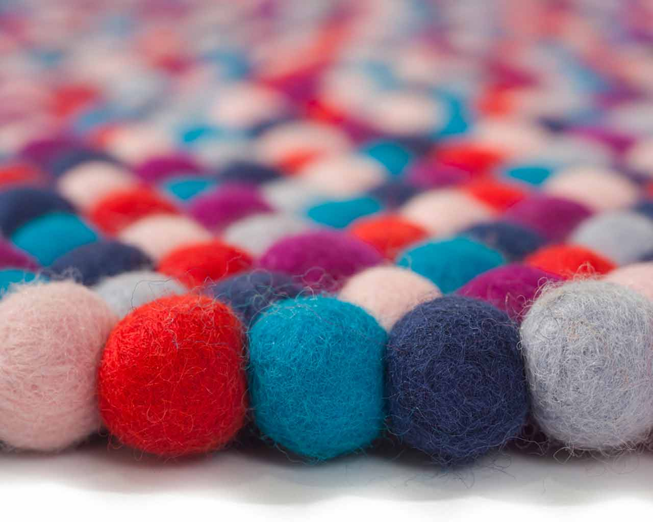 six felt balls blue dark light red dyi