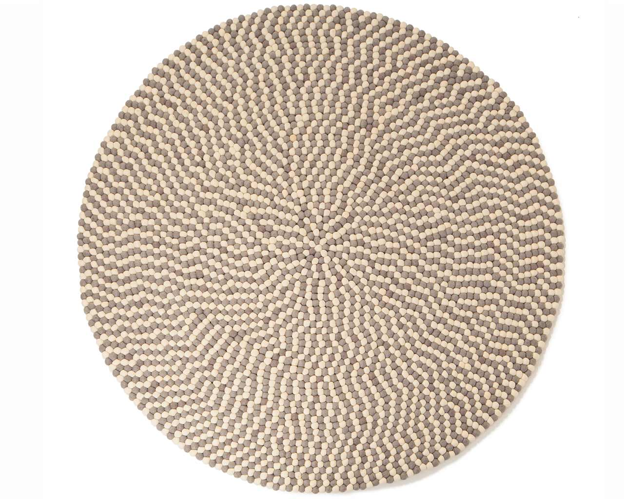 white grey felt ball rug