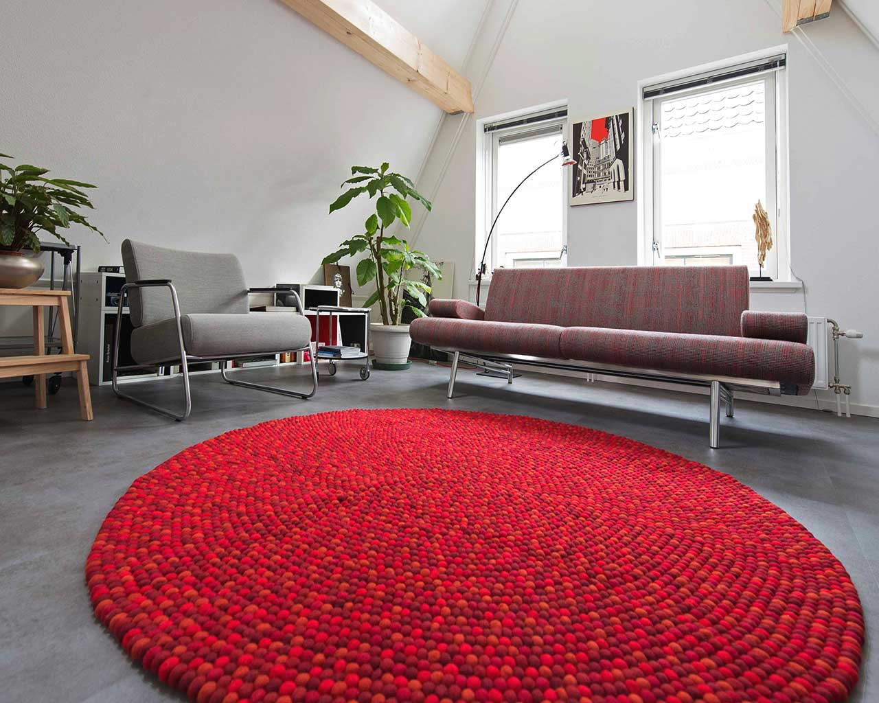 design studio red felt ball rugs