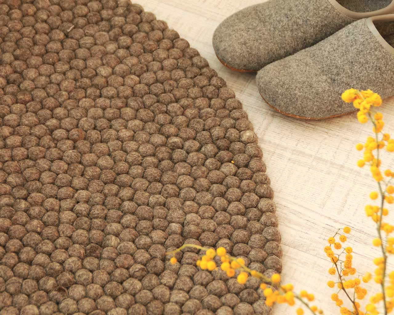 round felt ball carpet brown yellow flowers
