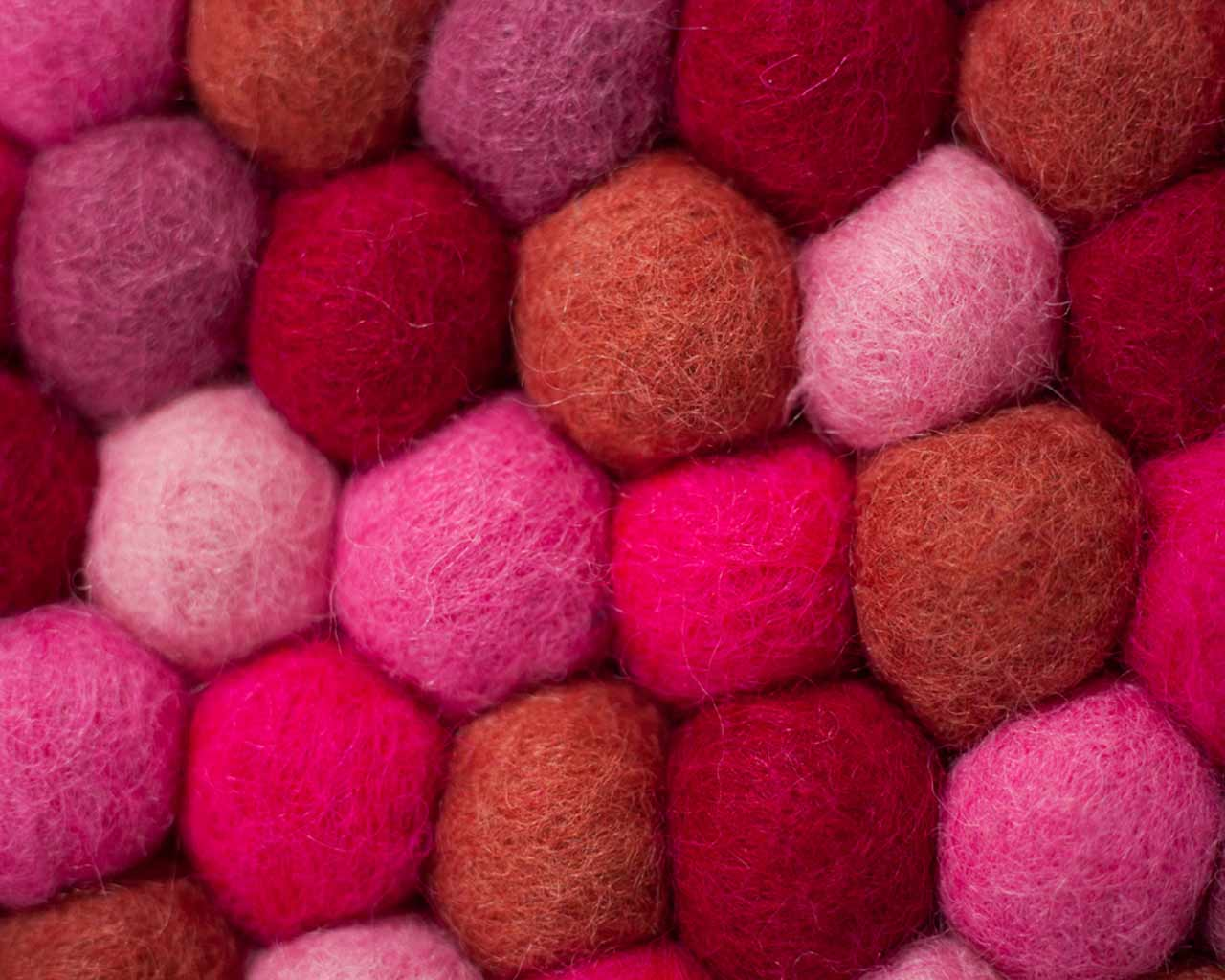red white pink pure wool balls