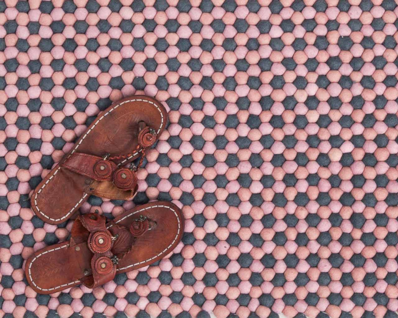 leather shoes on carpet from nepal