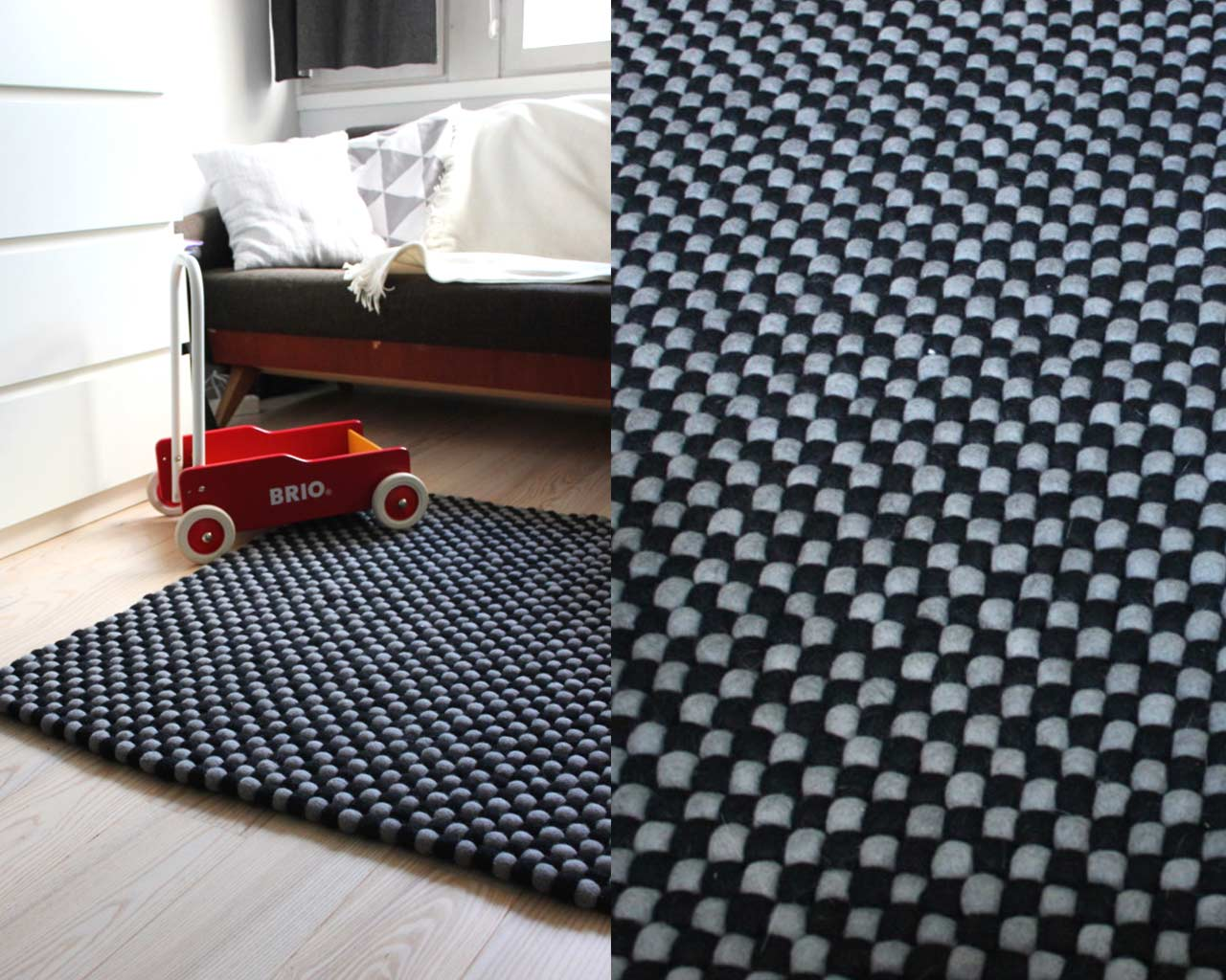 toy grey black rug modern
