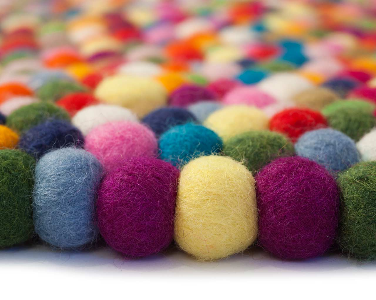 multi color felt balls wool