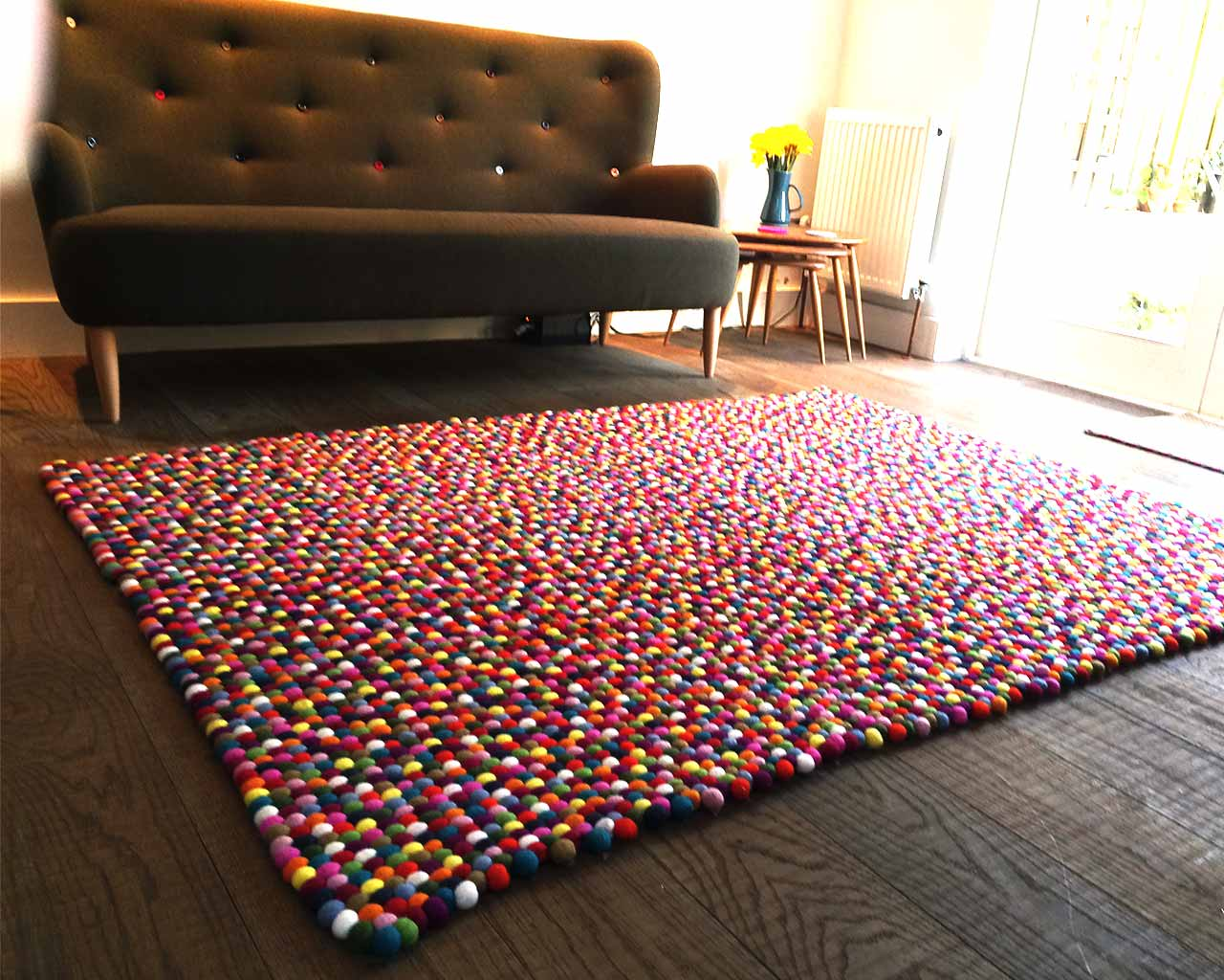 multi colour felt ball rug rectangle