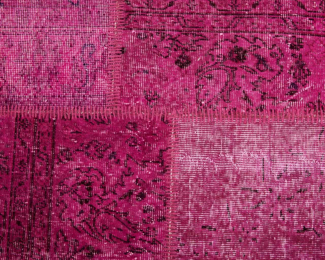 fuchsia patchwork overdyed vintage carpet