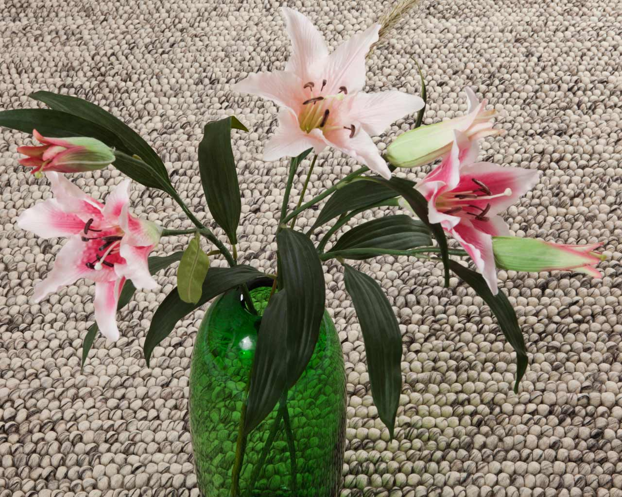 green vase orchid grey white handmade rugs