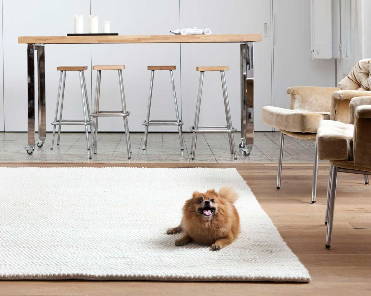 kitchen rugs white woollen