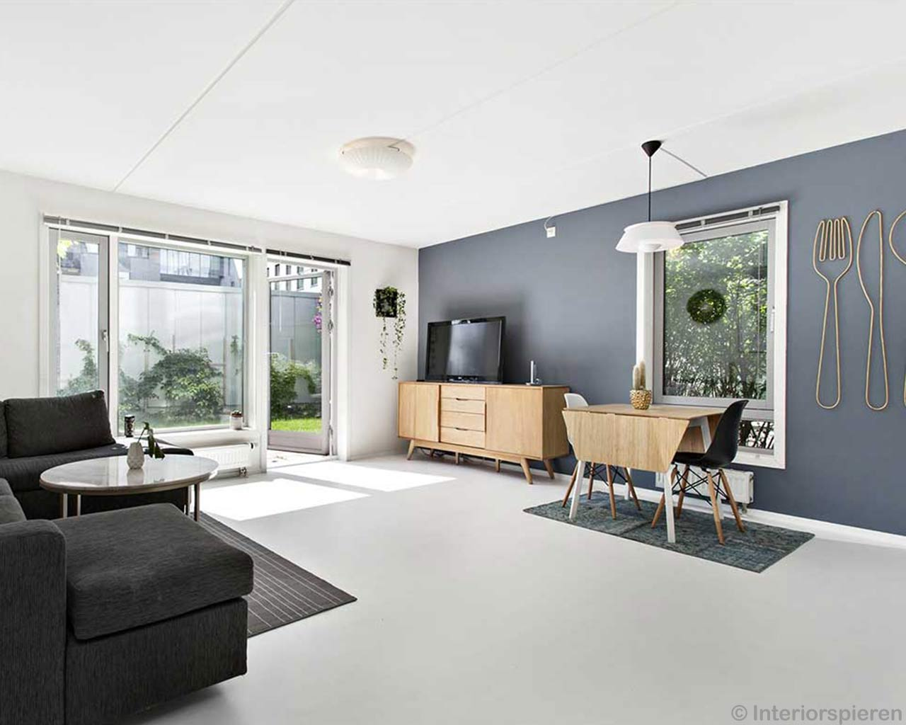 modern living room scandinavian design light blue carpet