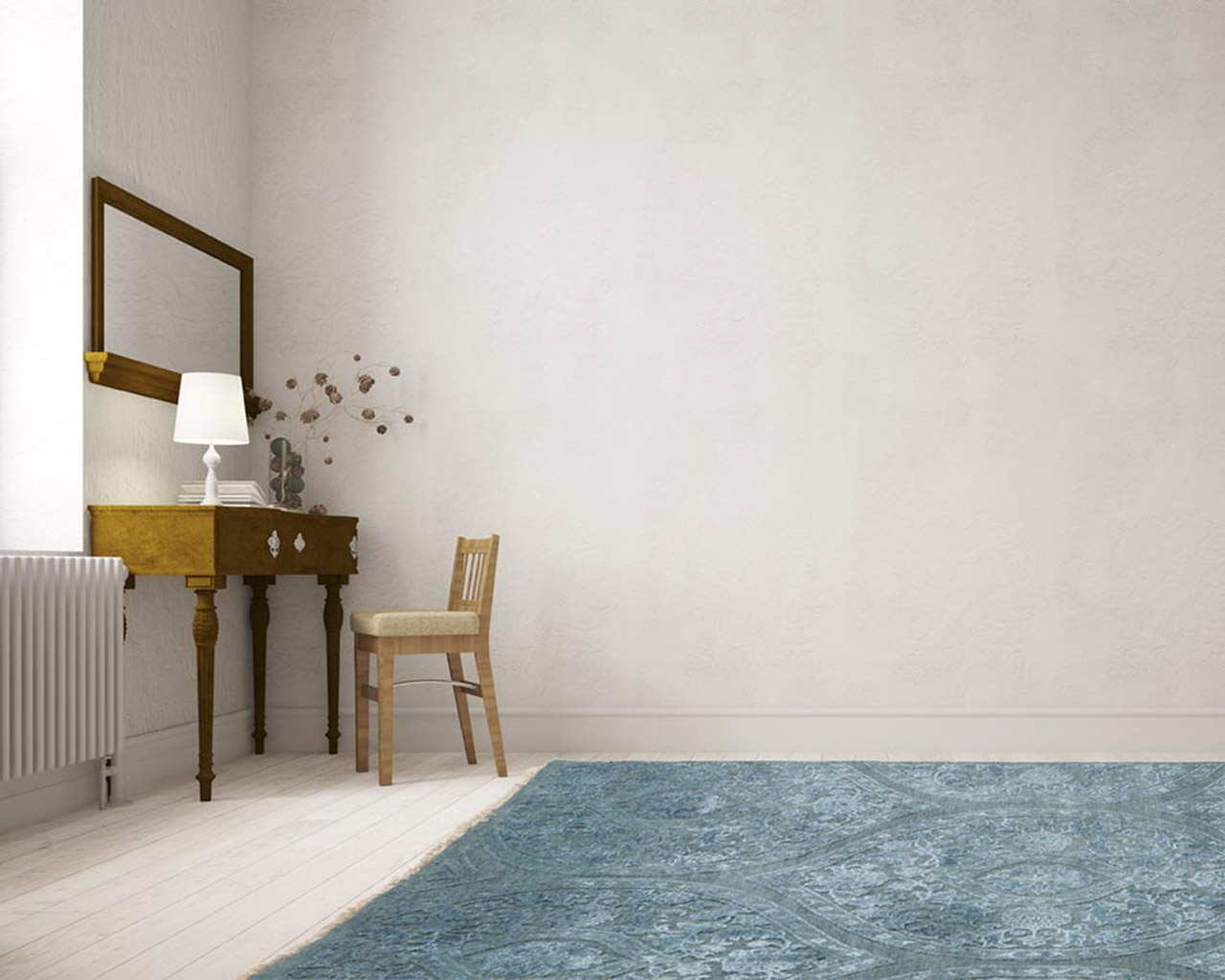 oriental hand knotted rug study room