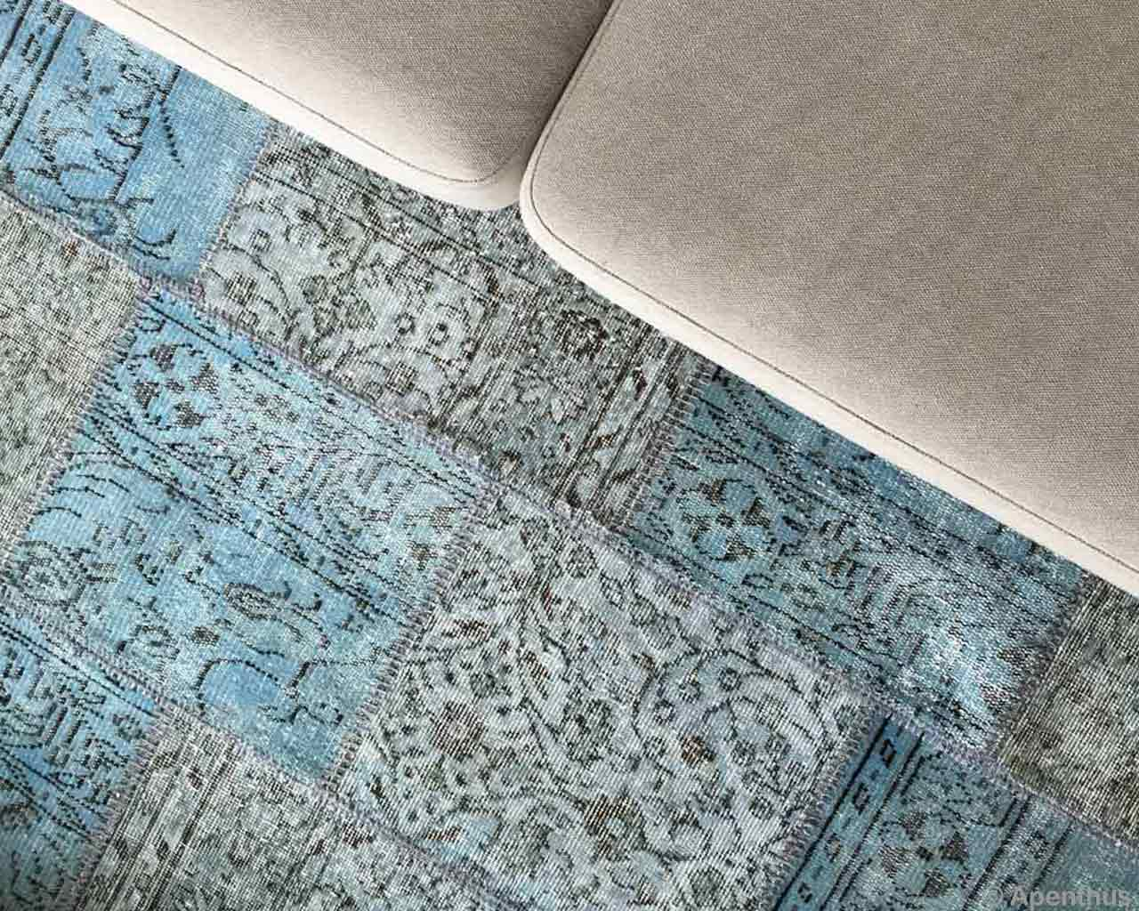 vintage blue carpet patchwork handmade grey sofa
