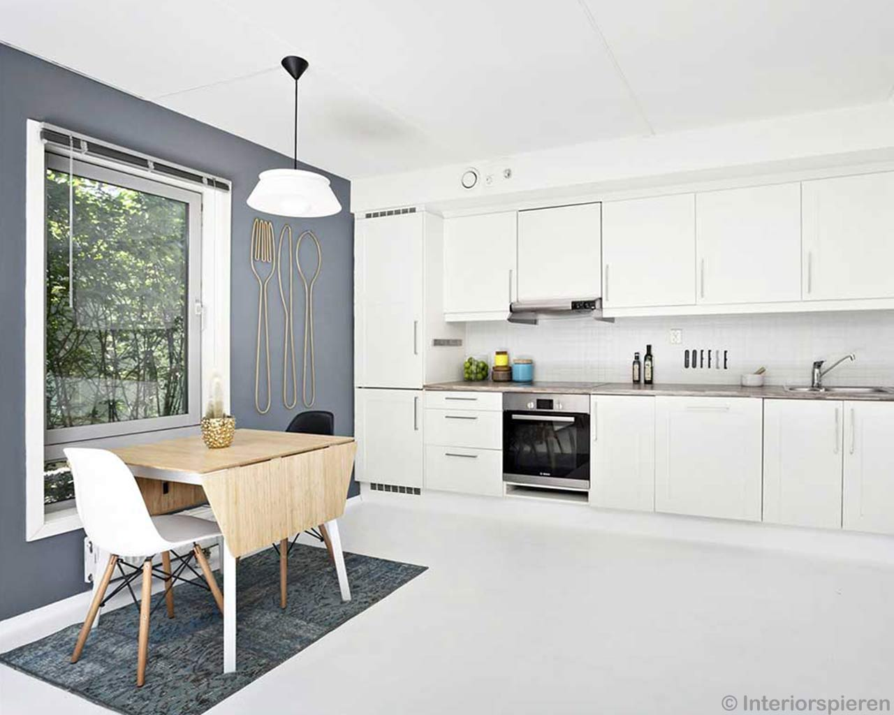 white modern kitchen blue patchwork carpet scandinavian design