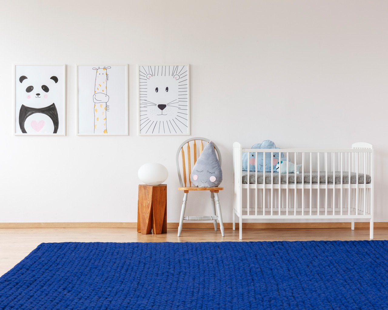 woven blue child room round rugs